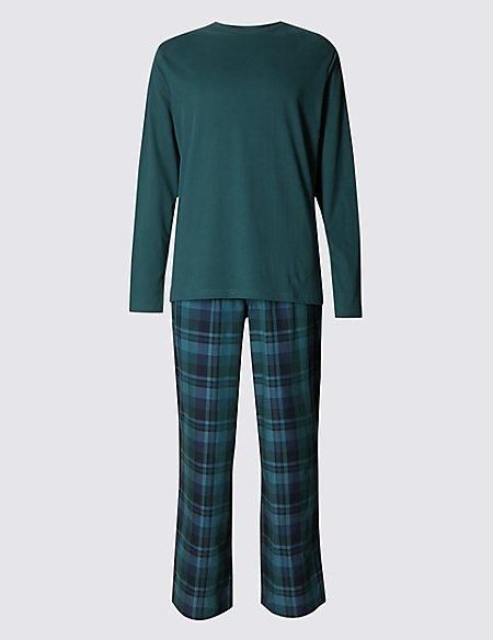 Pure Cotton Green Top Checked Pyjamas