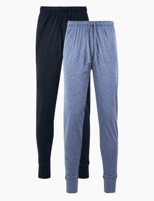 f6d1b6149c4 2 Pack Pure Cotton Long Pyjama Bottoms