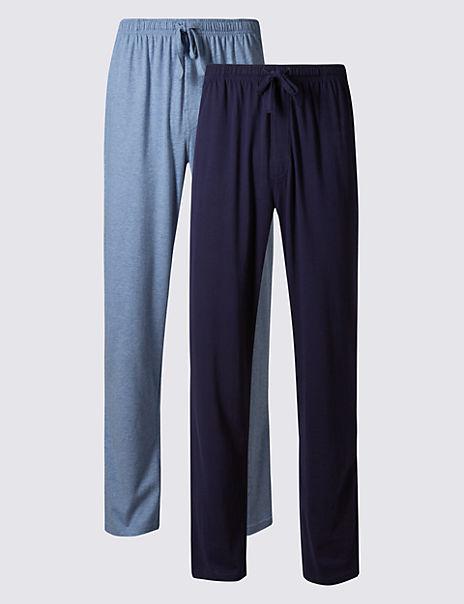 2 Pack Jersey Long Pyjama Bottoms