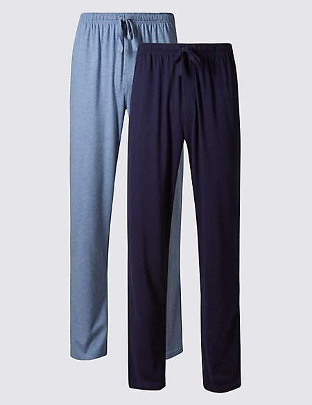 2 Pack Jersey Long Pyjama Bottoms
