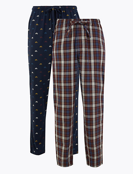 2 Pack Longer Length Cotton Pyjama Bottoms