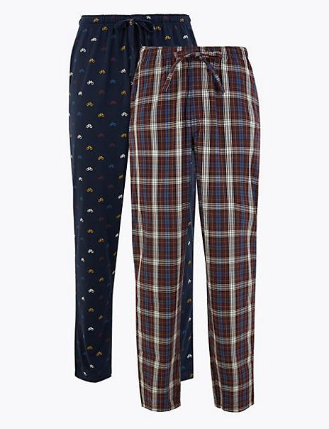 2 Pack Pure Cotton Printed Pyjama Bottoms