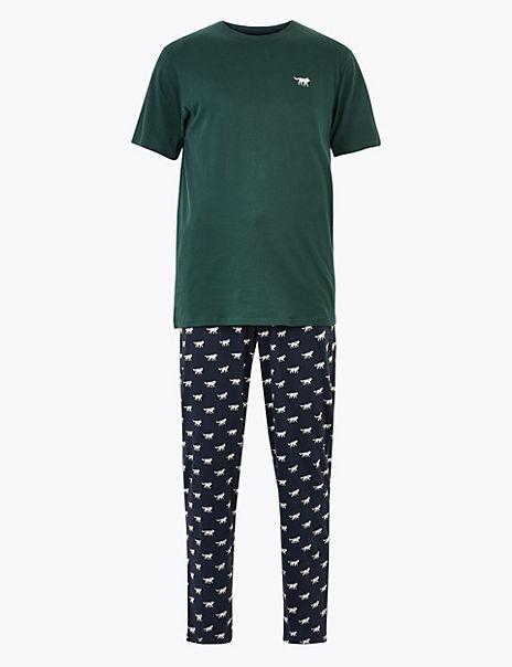 Pure Cotton Wolf Print Pyjama Set