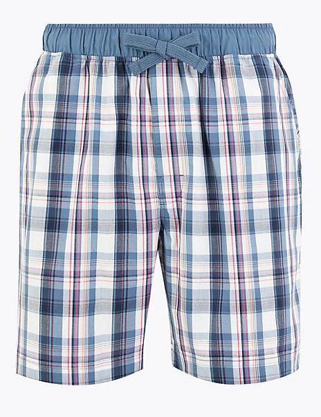 Pure Cotton Checked Pyjama Shorts