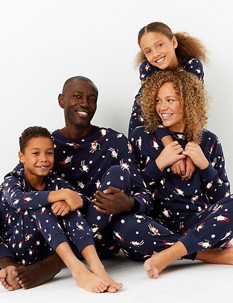 Pure Cotton Skiing Penguin Pyjama Set
