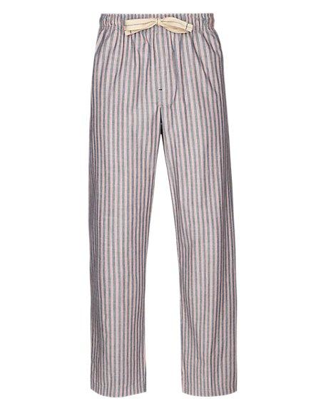2in Longer Pure Cotton Striped Poplin Pyjama Bottoms