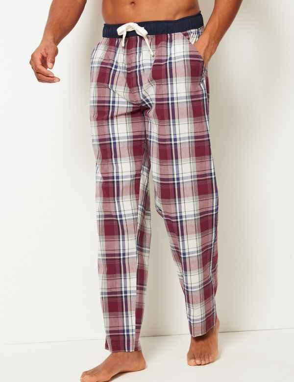 c3f035c5eb11 Pure Cotton Checked Long Pyjama Bottoms