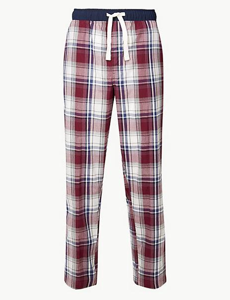 Pure Cotton Checked Long Pyjama Bottoms