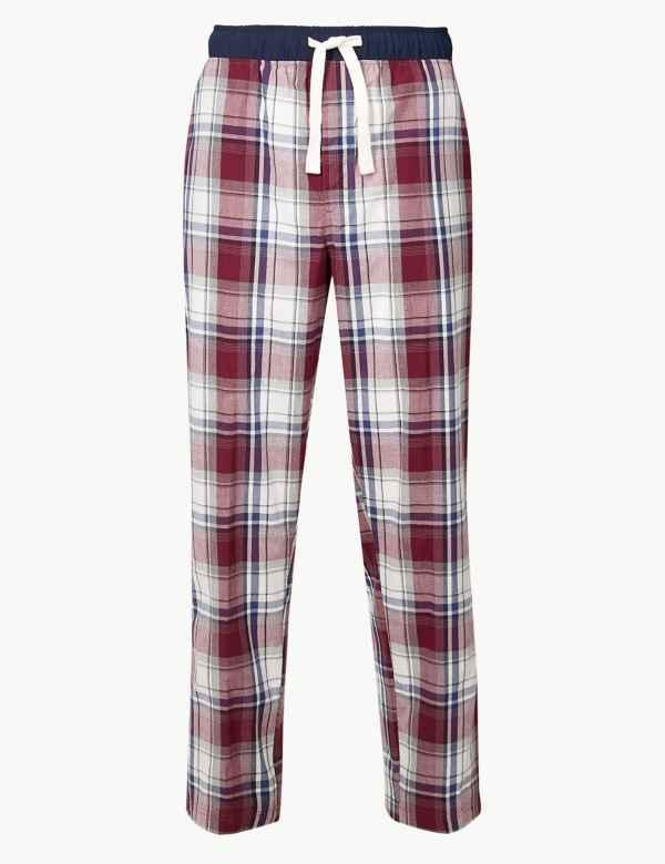 Pure Cotton Checked Long Pyjama Bottoms bf83619f3