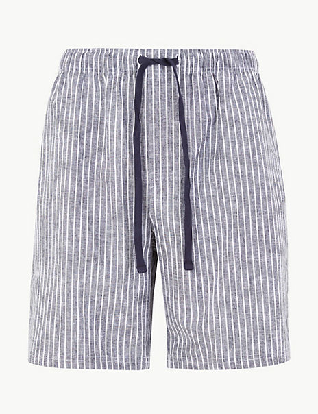 Linen Rich Striped Pyjama Shorts