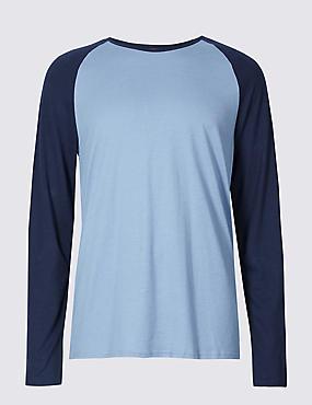 Cotton Blend Pyjama Top, DUSTY BLUE, catlanding