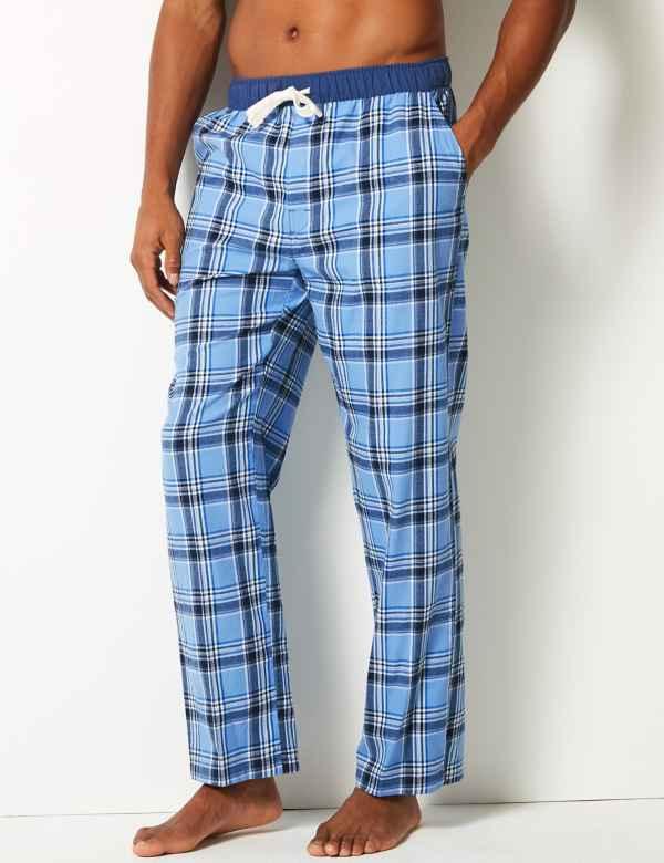 6c6ad61c73 Pure Cotton Checked Long Pyjama Bottoms