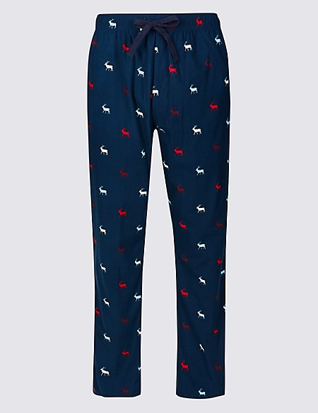 Stag Print Long Pyjama Bottoms