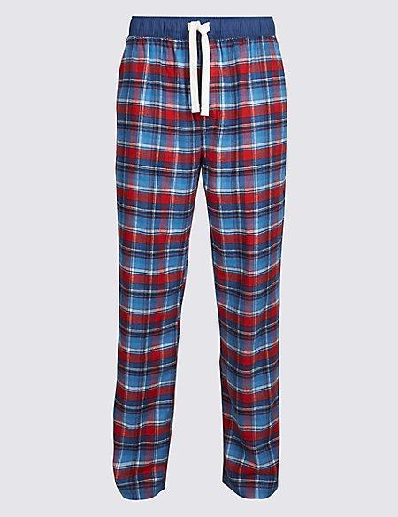 Brushed Cotton Checked Long Pyjama Bottoms