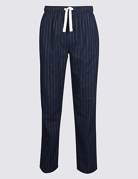 Pure Cotton Striped Long Pyjama Bottoms