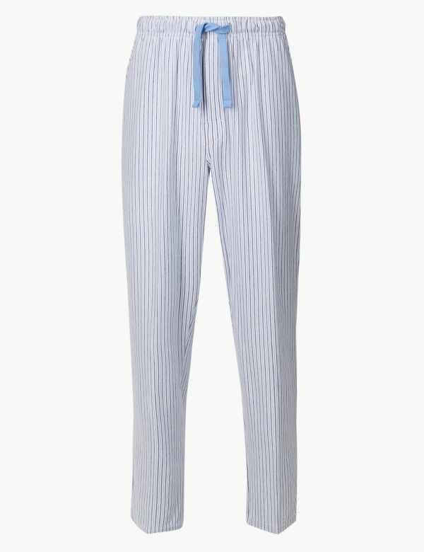Cotton Blend striped Long Pyjama Bottoms 637e5af16