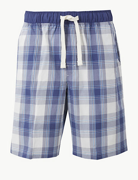 2in Longer Pure Cotton Checked Shorts