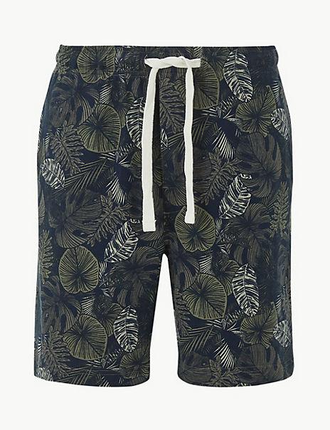 Pure Cotton Leaf Print Pyjama Shorts