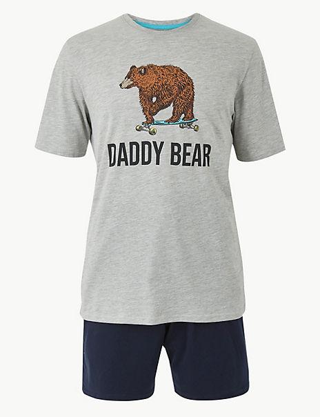 Daddy Bear Print Pyjama Shorts Set
