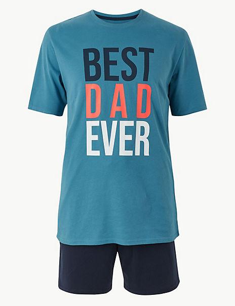 Best Dad Ever Print Pyjama Shorts Set