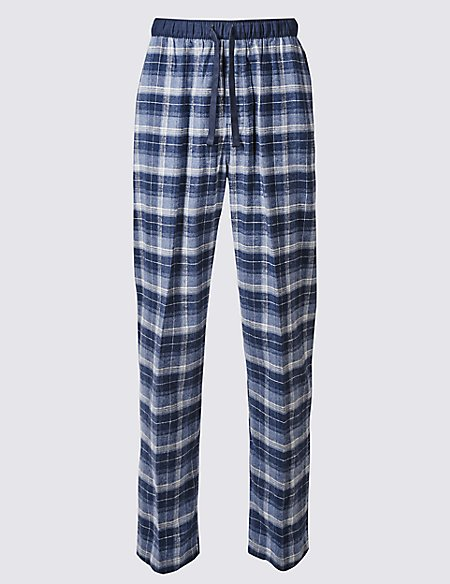 2in Longer Pure Cotton Checked Pyjama Bottoms