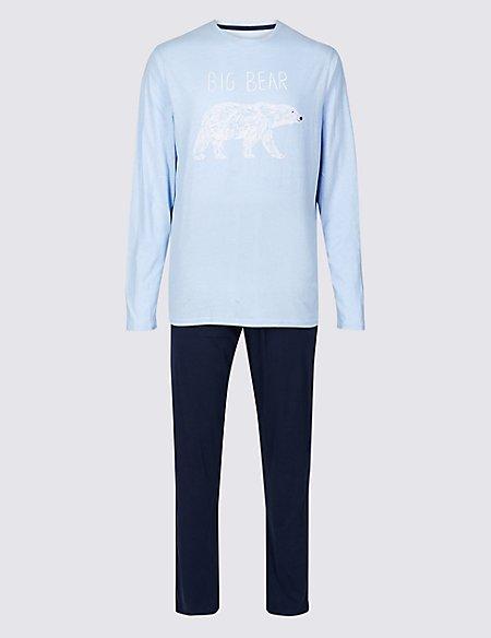 Mens Big Bear Print Pyjama Set