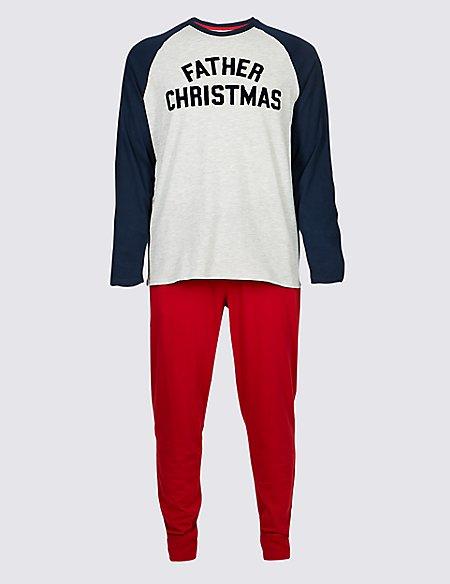Mens Father Christmas Slogan Pyjama Set