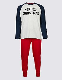 Mens Father Christmas Slogan Pyjama Set
