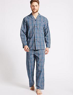 Pure Cotton Checked Pyjama Set, TURQUOISE MIX, catlanding