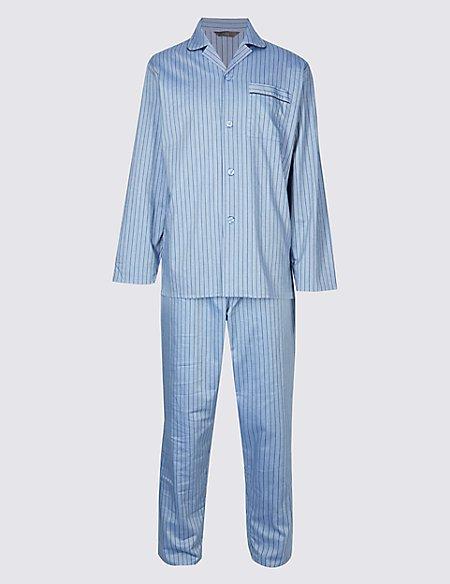 2in Longer Pure Cotton Striped Pyjama Set