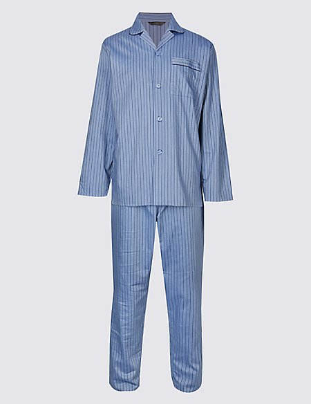 Pure Cotton Herringbone Stripe Pyjama Set