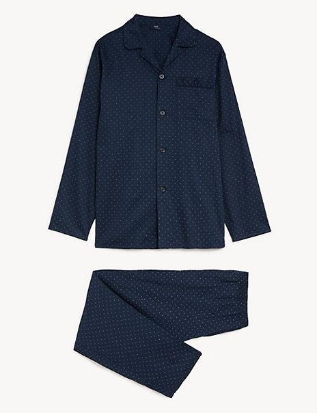 Pure Cotton Polka Dot Print Pyjama Set