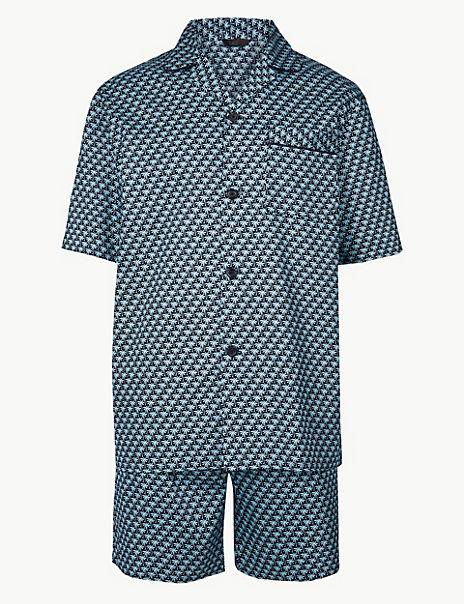 Pure Cotton Palm Print Pyjama Shorts Set