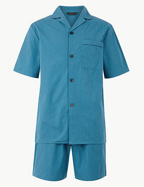 2in Longer Pure Cotton Pyjama Shorts Set