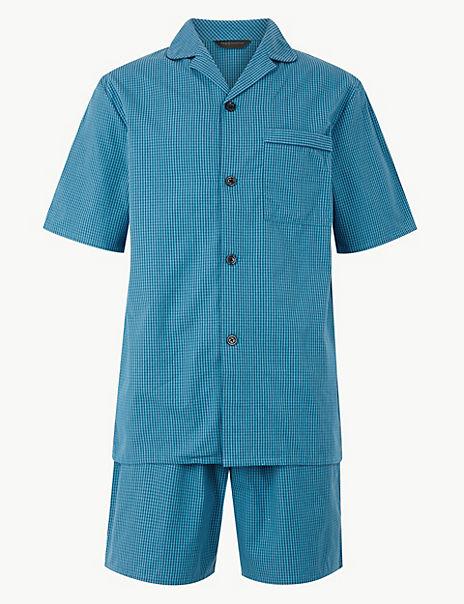 Pure Cotton Checked Pyjama Shorts Set
