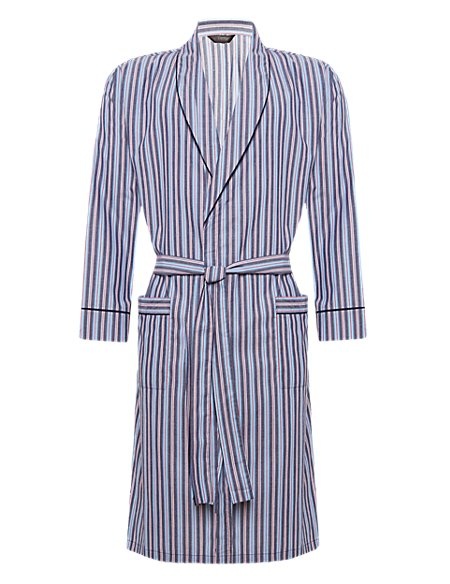 Pure Cotton Lightweight Winceyette Striped Dressing Gown