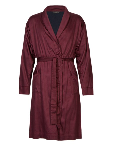 Pure Cotton Lightweight Geometric Print Belted Dressing Gown | M&S ...