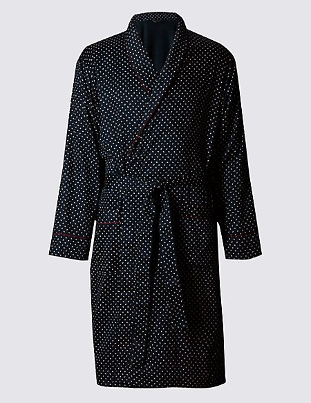 Pure Cotton Paisley Dressing Gown