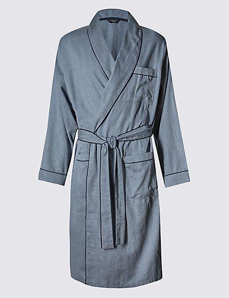 Supima® Cotton Lightweight Herringbone Dressing Gown | David Gandy ...