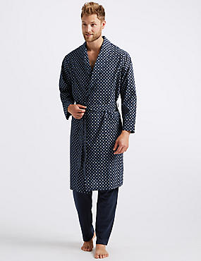 Cotton Blend Printed Dressing Gown with Belt ... 8c53aea34