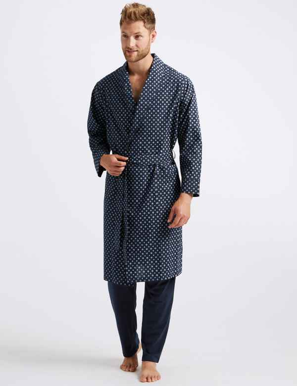 Cotton Blend Printed Dressing Gown with Belt 6f01a1230