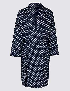 Cotton Blend Printed Dressing Gown with Belt