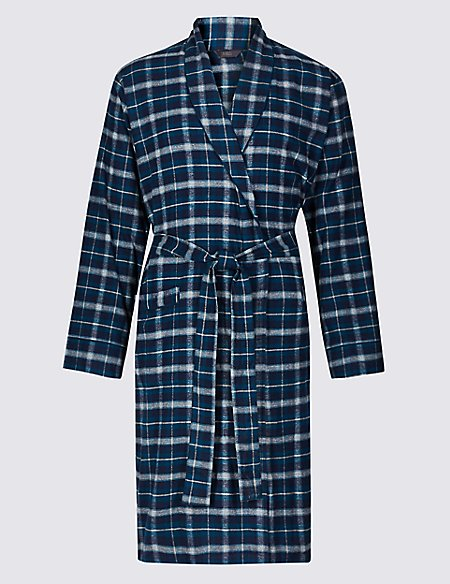 Brushed Cotton Checked Dressing Gown