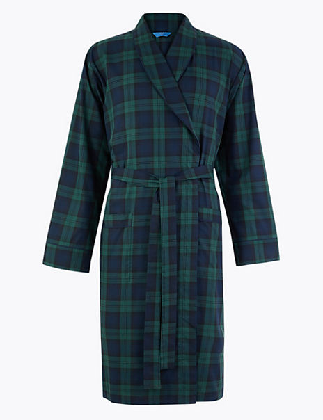 Cotton Blend Checked Dressing Gown