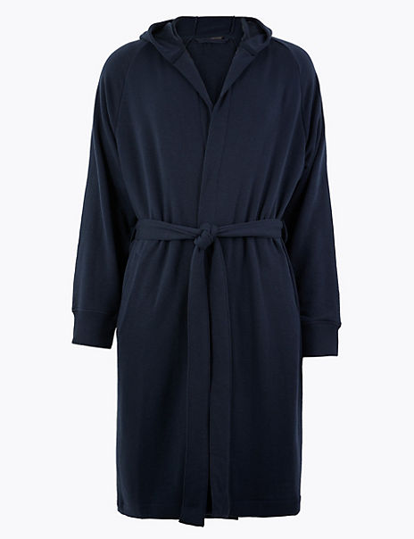 Cotton Jersey Hooded Dressing Gown