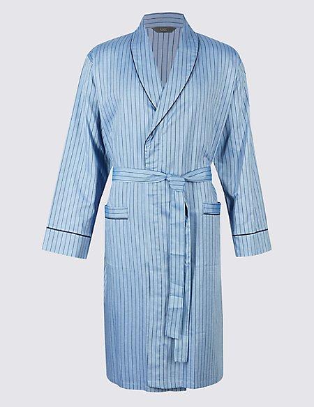 Pure Cotton Herringbone Stripe Gown
