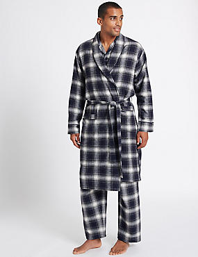 Pure Brushed Cotton Checked Dressing Gown