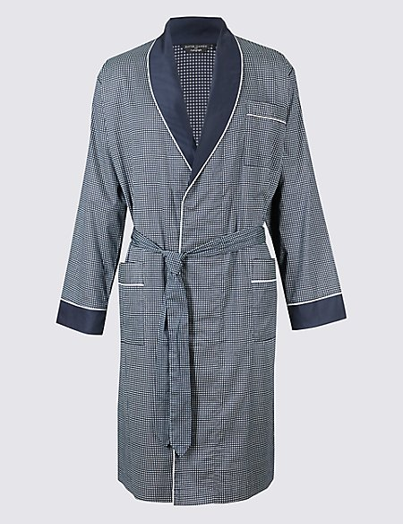 Pure Cotton Printed Dressing Gown with Belt