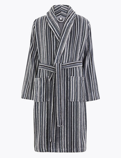 Pure Cotton Striped Towelling Dressing Gown