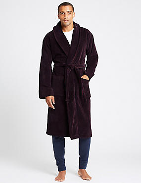Luxury Pure Cotton Dressing Gown with Belt, MULBERRY, catlanding